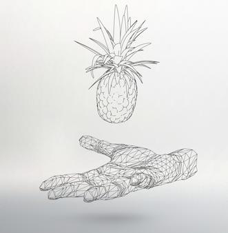 Abstrakter geometrischer hintergrund. ananas zur hand aus linien, molekülgitter.