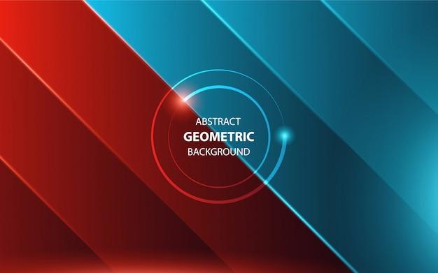 Abstrakter geometrischer hintergrund der roten und blauen leuchte