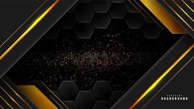 Abstrakter geometrischer hintergrund des goldes und des schwarzen