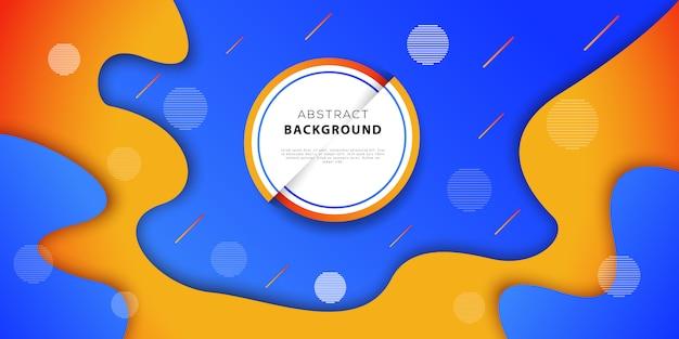 Abstrakter geometrischer hintergrund mit den blauen und orange farben. futuristisches plakatdesign mit fließenden steigungsformen. vektor-illustration
