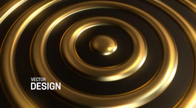 Abstrakter geometrischer hintergrund mit goldenen konzentrischen ringen