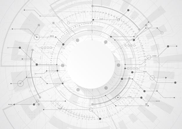 Abstrakter geometrischer hintergrund mit moderner futuristischer leiterplatte. high-tech-konzept für punkt- und linienverbindung. ingenieurwissenschaften. vektorillustration