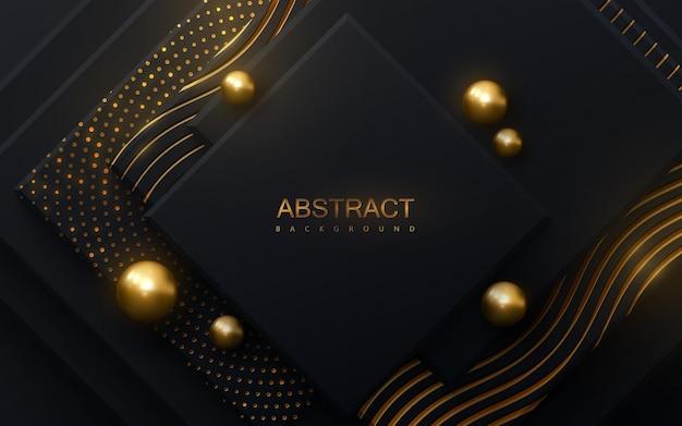 Abstrakter geometrischer hintergrund mit schwarzen quadraten, die mit goldenem muster und kugeln strukturiert sind