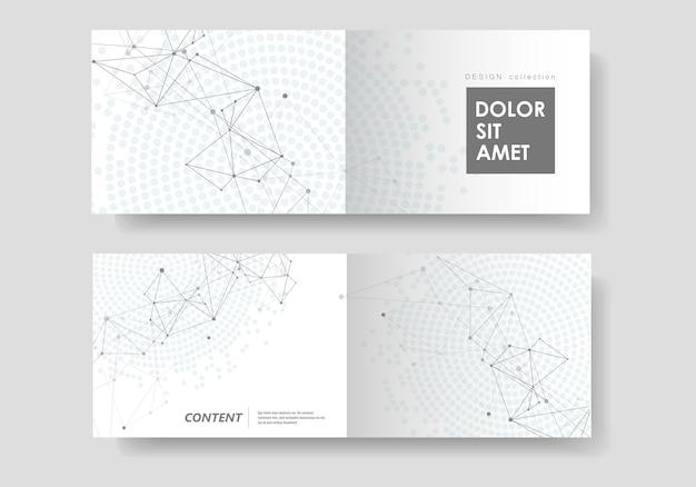 Abstrakter geometrischer hintergrund mit verbundenen linien und punkten. technologiebroschüre cover