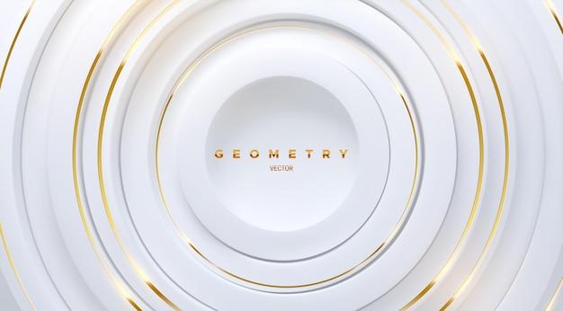 Abstrakter geometrischer hintergrund mit weißen konzentrischen kreisformen und goldenen streifen