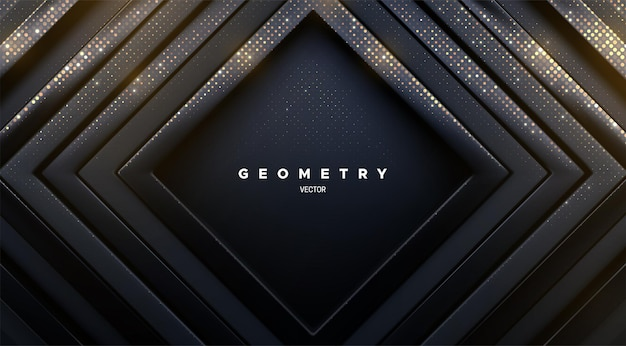 Abstrakter geometrischer hintergrund von luxuriösen glänzenden schwarzen quadratischen rahmen mit goldenem glitzer