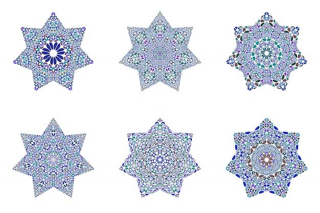 Abstrakter geometrischer lokalisierter blumenverzierungsstern-schablonensatz
