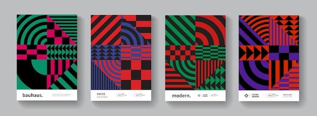Abstrakter geometrischer muster-hintergrund. sammlung von bunten schweizer plakatelementen. bauhaus-cover.
