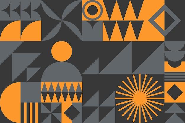 Abstrakter geometrischer musterhintergrund des bauhauses. trendiges minimalistisches geometrisches design mit einfachen formen und elementen. moderne künstlerische vektorillustration.