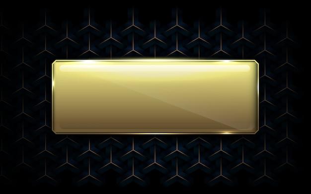 Abstrakter geometrischer musterluxushintergrund mit goldleerem kasten