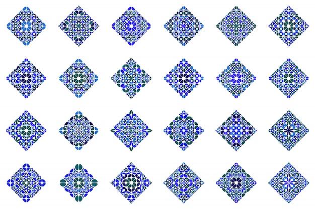 Abstrakter geometrischer quadratischer schablonensatzmit blumensatz