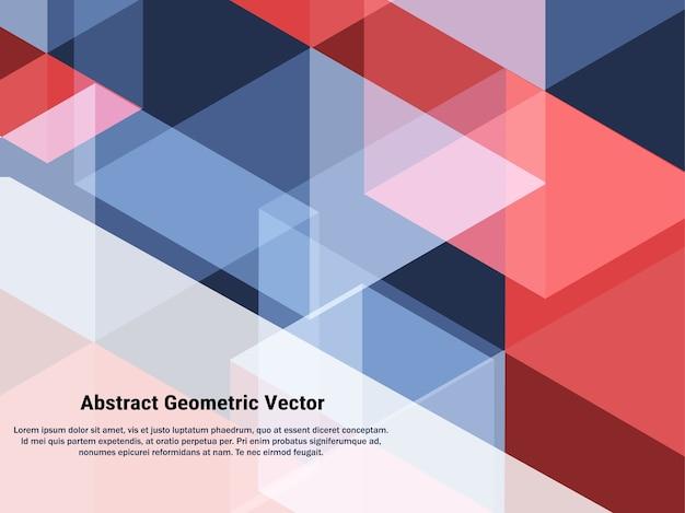 Abstrakter geometrischer roter, ble und weißer mischungshintergrund.