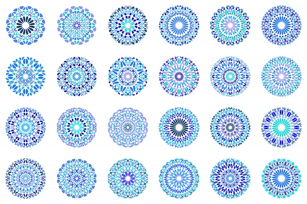 Abstrakter geometrischer runder kiesmandala-symbolsatz
