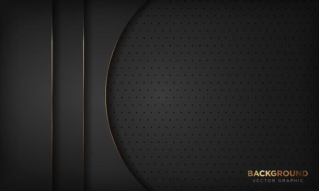 Abstrakter geometrischer schwarzer hintergrund mit goldlinie