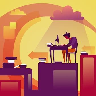 Abstrakter geschäftsmann, der am computer desktop sitting at workplace arbeitet