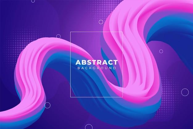 Abstrakter gewellter flüssiger hintergrund mit farbverlauf rosa und blau