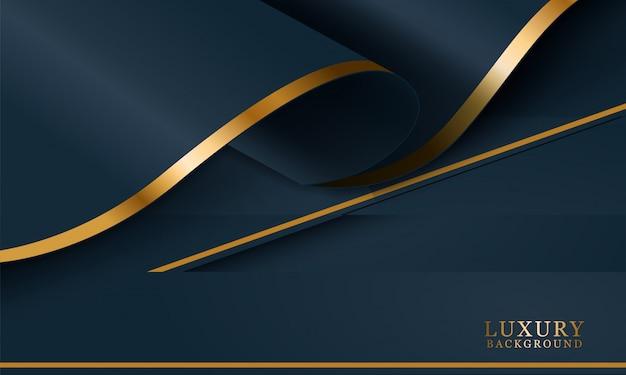 Abstrakter gewellter luxus dunkelblauer und goldener hintergrund. illustrationsvektor