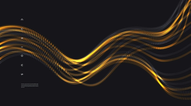 Abstrakter glänzender goldener partikelwellenhintergrund