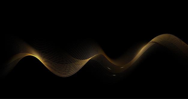 Abstrakter glänzender goldener wellenhintergrund.