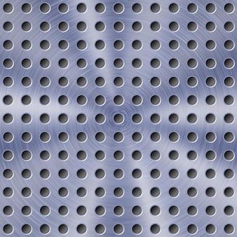 Abstrakter glänzender metallhintergrund in blauer farbe mit kreisförmiger gebürsteter textur und runden löchern