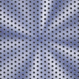 Abstrakter glänzender metallhintergrund in blauer farbe mit kreisförmiger gebürsteter textur und sechseckigen löchern