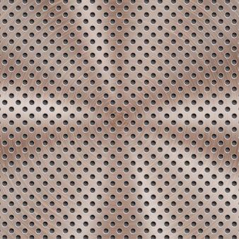 Abstrakter glänzender metallhintergrund in bronzefarbe mit kreisförmiger gebürsteter textur und runden löchern