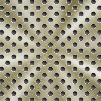 Abstrakter glänzender metallhintergrund in goldener farbe mit kreisförmiger gebürsteter textur und runden löchern