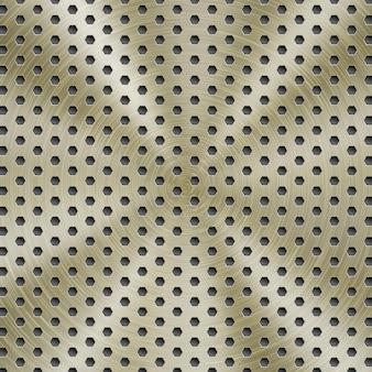 Abstrakter glänzender metallhintergrund in goldener farbe mit kreisförmiger gebürsteter textur und sechseckigen löchern