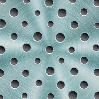 Abstrakter glänzender metallhintergrund in hellblauer farbe mit kreisförmiger gebürsteter textur und runden löchern