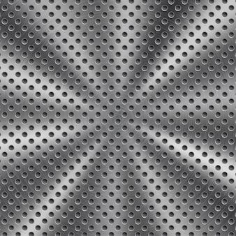 Abstrakter glänzender metallhintergrund in silberner farbe mit kreisförmiger gebürsteter textur und runden löchern