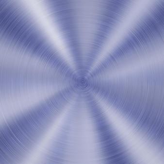 Abstrakter glänzender metallhintergrund mit kreisförmiger gebürsteter textur in blauer farbe