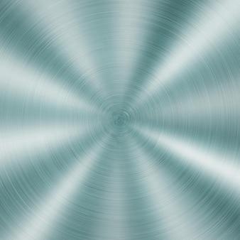 Abstrakter glänzender metallhintergrund mit kreisförmiger gebürsteter textur in hellblauer farbe