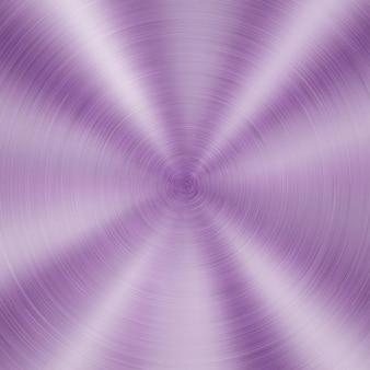Abstrakter glänzender metallhintergrund mit kreisförmiger gebürsteter textur in lila farbe