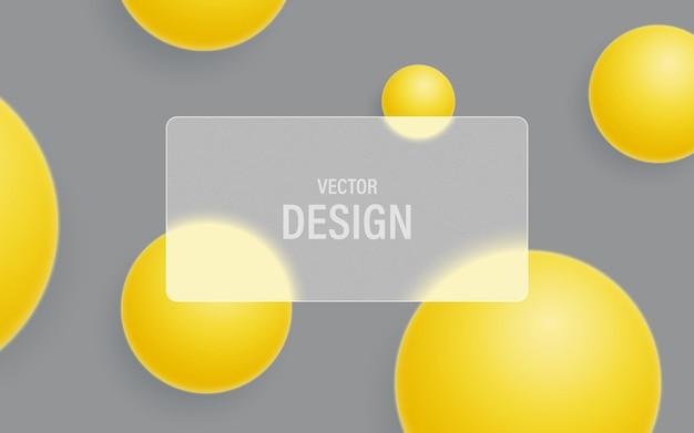 Abstrakter glasmorphismushintergrund mit gelben kugeln und mattem transparentem glas auf einem ultimativen grauen hintergrund.