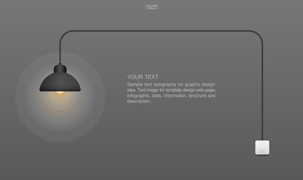 Abstrakter glühlampe- und lichtschalter.