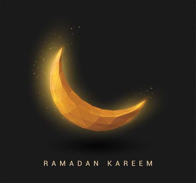 Abstrakter goldener halbmond. ramadan kareem hintergrund. low poly style