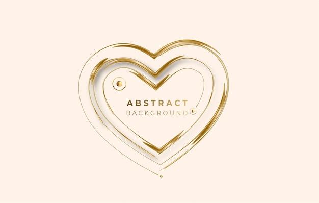 Abstrakter goldener leuchtender glänzender herzrahmenvektorhintergrund. verwendung für modernes design, cover, poster, vorlage, broschüre, dekoriert, flyer, banner.