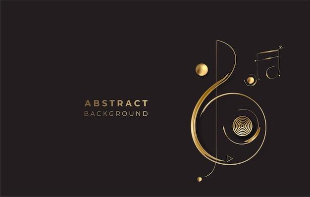 Abstrakter goldener leuchtender glänzender musik-anmerkungs-vektor-hintergrund. verwendung für modernes design, cover, poster, vorlage, broschüre, dekoriert, flyer, banner.