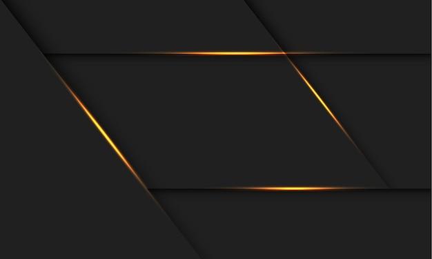 Abstrakter goldener lichtlinienschatten auf moderner futuristischer technologiehintergrundillustration des dunkelgrauen entwurfs.