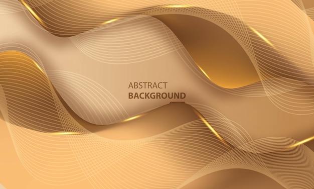 Abstrakter goldener luxuslinienhintergrund mit glüheffekt