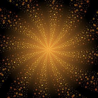 Abstrakter goldener sternstrudelhintergrund