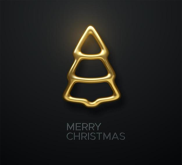 Abstrakter goldener weihnachtsbaum und frohe weihnachten-zeichen