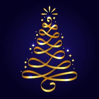Abstrakter goldener weihnachtsbaum