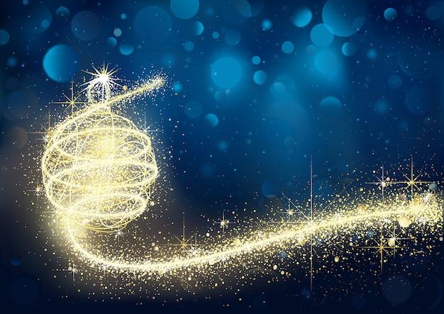 Abstrakter goldener weihnachtsflitter in der blauen bokeh-nacht