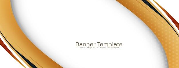 Abstrakter goldener wellenart-designfahnen-schablonenvektor