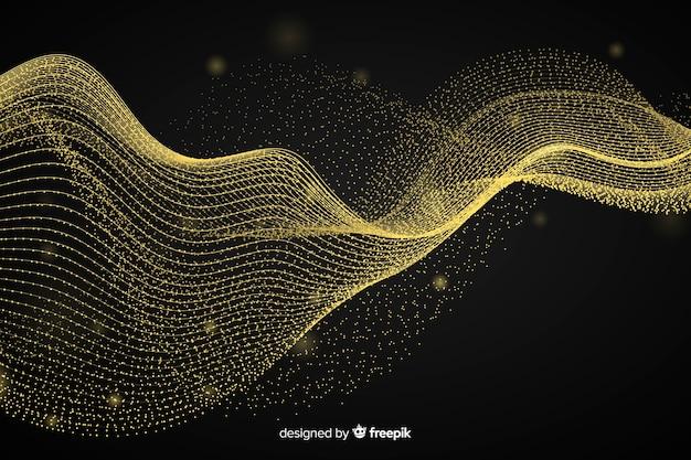 Abstrakter goldener wellenschwarzhintergrund
