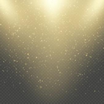 Abstrakter goldglitterraumnebelglanzeffekt. goldene staubauflage. funkelnde konfetti, schimmernde punktlichter.