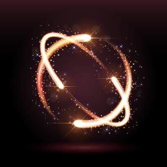 Abstrakter goldkreisweg, kreisförmig leuchtende funken.