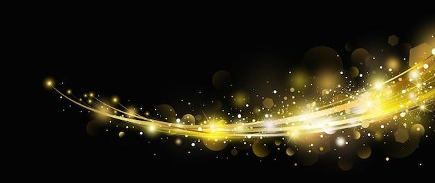 Abstrakter goldlichteffekt mit bokeh-entwurf auf schwarzem hintergrund