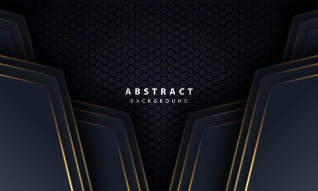 Abstrakter goldlinienpfeil auf schwarz mit sechseckmaschendesign moderne futuristische technologiehintergrund-vektorillustration des luxusluxus.